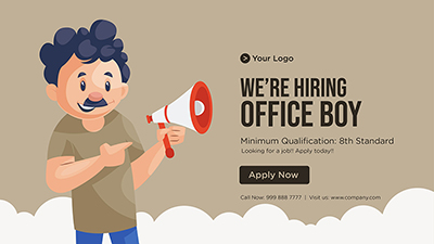 Banner template for we are hiring office boy