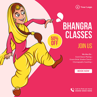 Banner template of bhangra classes