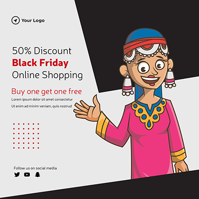 Banner template of black friday shopping discount