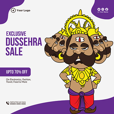 Banner template of exclusive Dussehra sale