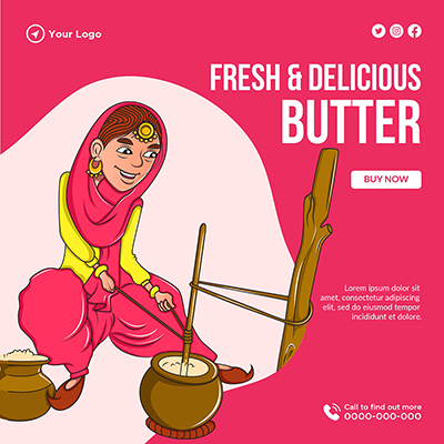 Banner template of fresh and delicious butter