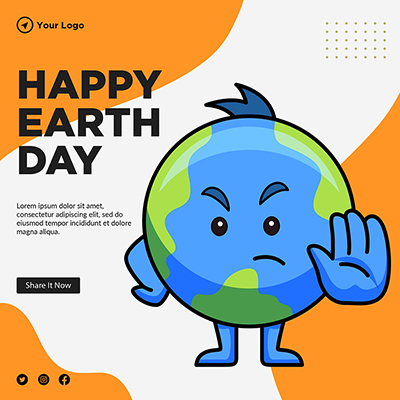 Banner template of happy Earth day