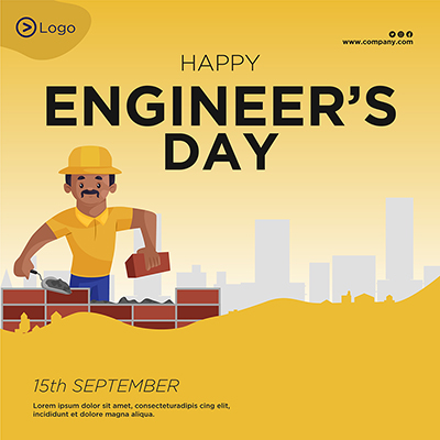 Banner template of happy engineer's day illustration