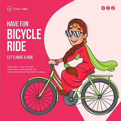 Banner template of have fun with bicycle ride