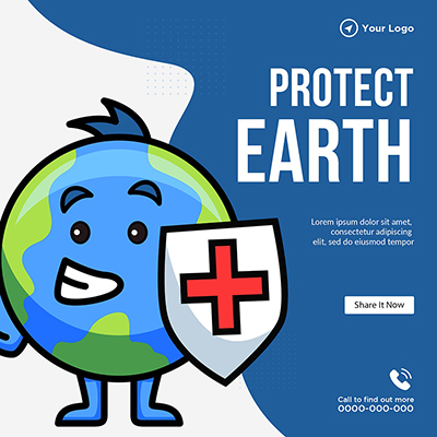 Banner template of protect Earth