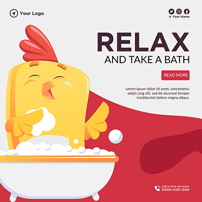 Banner template of relax and take a bath