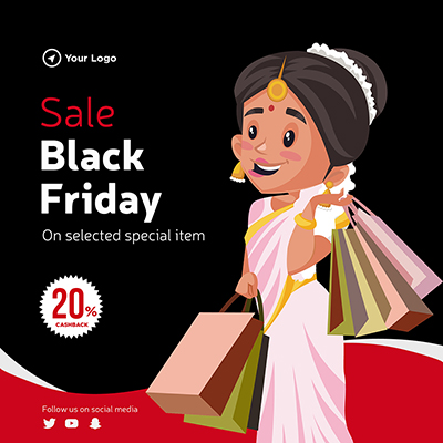 Banner template of sale on black friday