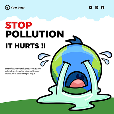 Banner template of stop pollution it hurts