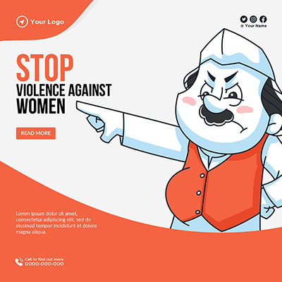 Banner template of stop violence against women