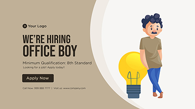 Banner template of we are hiring office boy