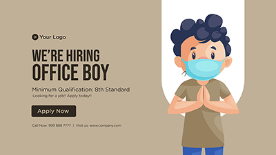 Banner template we are hiring office boy