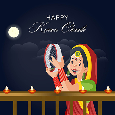Banner template with happy karwa chauth festival