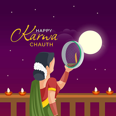 Banner with happy karwa chauth festival template