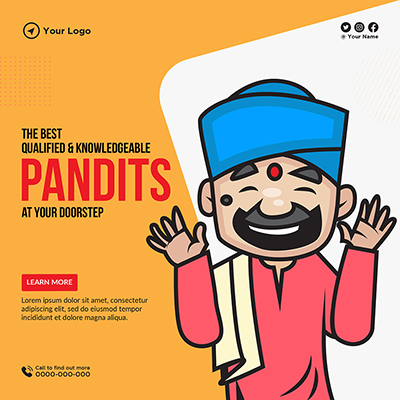 Best qualified pandits at your doorstep banner template
