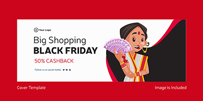Big shopping on black friday cover template