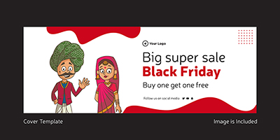 Big super sale on black friday cover page template