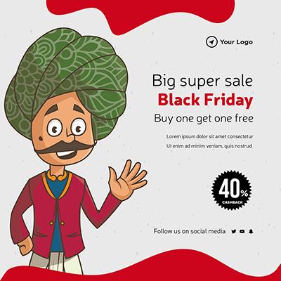 Black Friday big super sale banner template