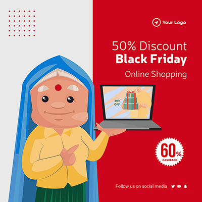 Black Friday online shopping discount template