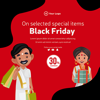 Black Friday sale on selected items banner template