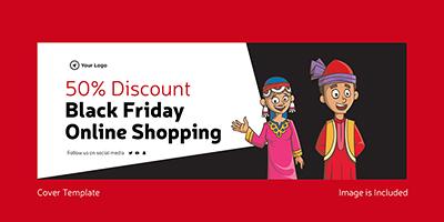 Black friday sale online shopping cover design