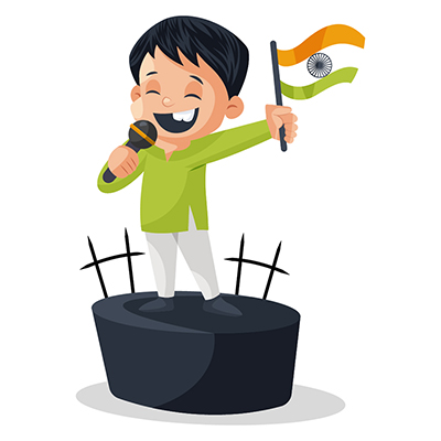 Boy is holding the Indian flag and giving speech