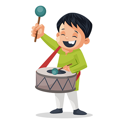 Boy is playing drum on independence day parade