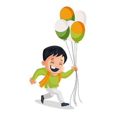 Boy is running with balloons on independence day