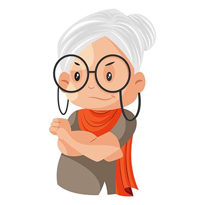 Cartoon illustration of a happy granny
