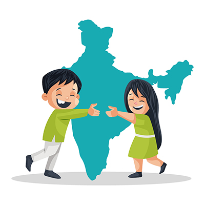 Children are hugging the Indian map