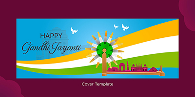 Cover page template of happy Gandhi Jayanti