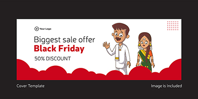 Cover template of black friday biggest sale offer