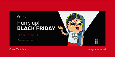 Cover template of hurry up on black friday sale