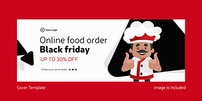 Cover template of online food order on black friday
