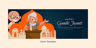 Coverpage template of happy Gandhi Jayanti