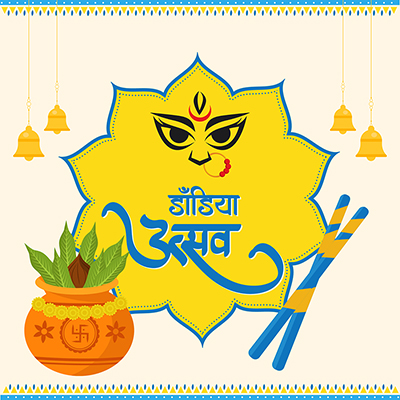 Dandiya Utsav in Hindi typography template banner