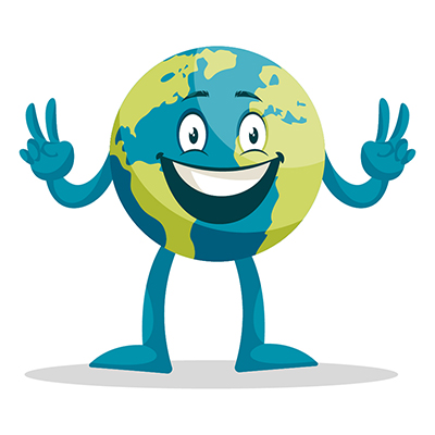 Earth illustration showing victory sign