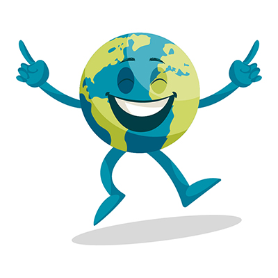 Earth illustration is happy and dancing