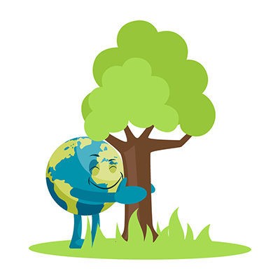 Earth illustration is hugging the tree