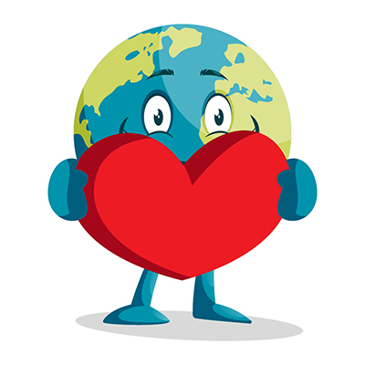 Earth illustration holding a heart in hand