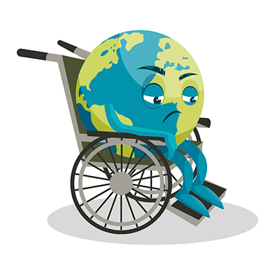 Earth illustration is sitting on wheelchair