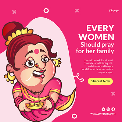 Every women should pray for her family banner template