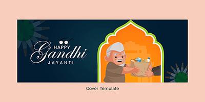 Facebook cover template of happy Gandhi Jayanti