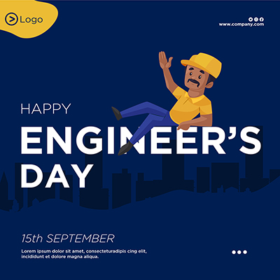 Flat banner design of happy engineer's day