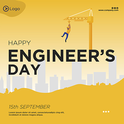Flat banner for happy engineer's day template