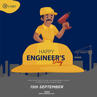 Flat banner of happy engineer's day template