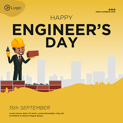 Flat banner template for happy engineer's day