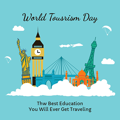Flat banner template for world tourism day