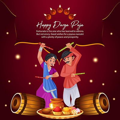 Flat banner template of happy Durga puja