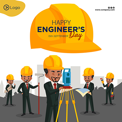 Flat banner template of happy engineer's day