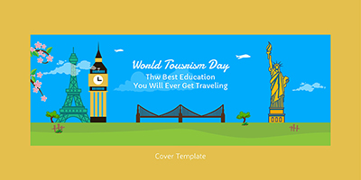 Flat cover page template for world tourism day